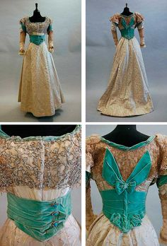 A turquoise velvet and brocaded satin evening gown, ca. 1900, with elaborately sequined and beaded bodice, the waist and cuffs trimmed with turquoise and paste studs, lace sleeves, full skirt. Kerry Taylor Auctions