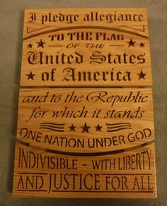 Pledge of allegiance, wooden sign,  patriotic, american sign, stars and stripes, Americana decor,  patriotic decor, USA sign, wall decor by SJAWoodesign on Etsy