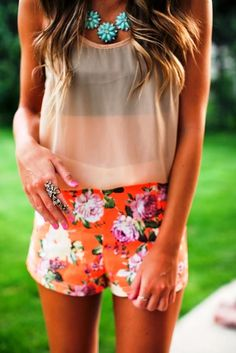 Pink Base Floral Shorts With Blouse