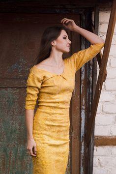 BIG SALE  30 Golden dress mustard yellow pencil dress by Baymut