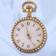 Late Victorian Ladies Enamel and Seed Pearl Open Face Pocket Watch