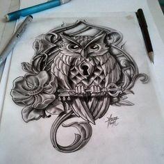 coruja chave rosas