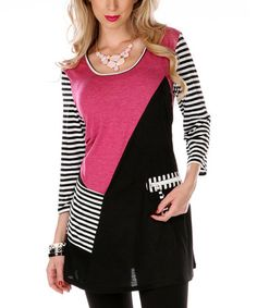 Loving this Pink & White Stripe Color Block Tunic on #zulily! #zulilyfinds $32.99 - Aster Women