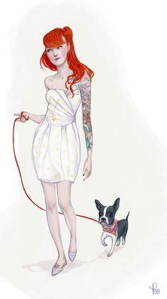 a boston terrier. #redhead #bostonterrier #tattoos