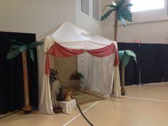 Standard pop up tent and some sheets, baskets and fake palms. Israelite Camp at ogletown Baptist church, Newark de.