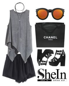 """Shorts from Shein"" by eva-jez ❤ liked on Polyvore featuring H&M, Topshop, Yves Saint Laurent, Chanel, Bølo, black, shorts and shein"