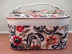 Vintage 1960s Train Case Tapestry 2013590 by bycinbyhand on Etsy, $35.00 #BagsandPurses  #Luggage  #madmen  #1960s  #bagsandpurses  #tote  #luggage  #lingerie  #travel  #travelbag #overnightbag  #traincase  #tapestry  #needlepoint  #carpetbag #megandraper #bycinbyhand