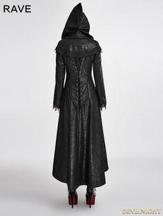 Black Gothic Dark Angle Long Hooded Coat for Women