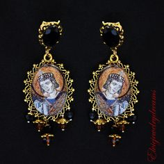 Byzantine style golden earrings