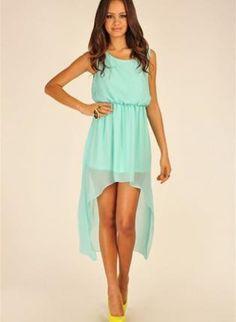 82799d7ecb6 Green Longer Lengths Dress - Maxi Chiffon Asymmetrical Sleeveless Dress