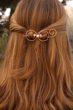 Hair bow copper hair barrette hair spirals hair clip by Kapelika, $26.00