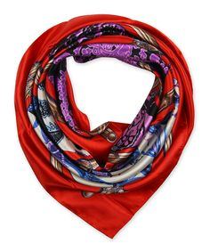 "Corciova®  35"" Silk-like Big Square Scarf 35 x 35 (Stick flowers red background)"