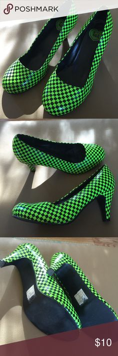 "Off to the races. Lime and black check. Super cute. Don't be afraid to sport these, they are so cute on. Vinyl material. Less than 3"" heel. True to size. tuk Shoes Heels"