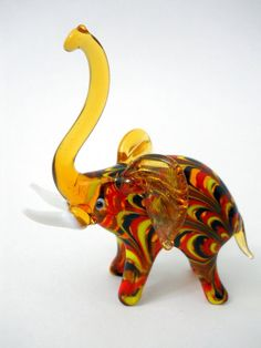 Amber Glass Elephant Figurine Yellow Red Black Design Trunk Up Tusks New