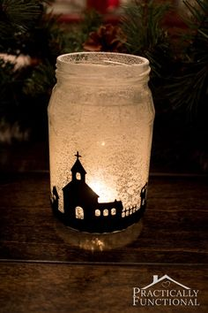 Snowy Christmas Village Silhouette Candle Jar