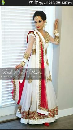 Red and white indian anarkali