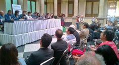 La conferencia donde se pidió la revocación de mandato de EPN. Foto: Tomada de Twitter
