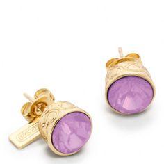 purple coach jewelry   Coach Stone Stud Earrings in Purple (gold/purple)