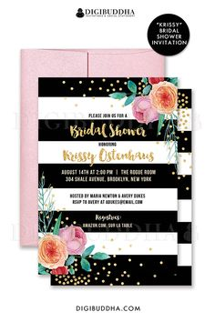 Black and white striped bridal shower invitations with boho chic peach and pink watercolor peonies and gold glitter confetti dots. Choose from ready made printed invitations with envelopes or printable bridal shower invitations. Rose shimmer envelopes also available. digibuddha.com