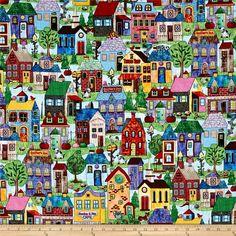 Timeless Treasures Home Sweet Home Neighborhood Scenic Full Color Multi