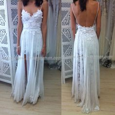 New Arrival Charming StrapsSlits Front Beach Wedding Dress LAWD-90022 with Appliques