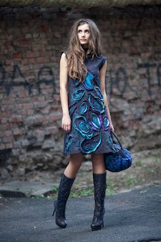 felt dress <3 lots more gorgeous felt wearables on this russian blog