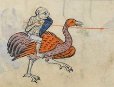 Monkey jouster, English, about 1260. Rutland Psalter, f. 66v