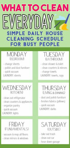 , Too Busy To Clean House? Here's What To Clean Everyday To Get It Done - simple . , Too Busy To Clean House? Here's What To Clean Everyday To Get It Done - simple daily cleaning schedules and checklists for busy people and lazy girls .