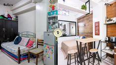 Tagô: A Take on the Modern Bahay-Kubo Studio Type Condo, Studio Type Apartment, Condo Interior Design, Condo Design, House Design, Rustic Contemporary, Contemporary Interior, Modern Industrial, Multipurpose Furniture