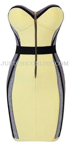"""The """"Toni"""" Crystal Embellished Yellow and Grey Illusion Bandage Dress. Made with high quality luxury bandage fabric. $170.00"""