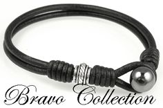 Sterling Silver & Hematite Bangle Wristband Leather Bracelet.