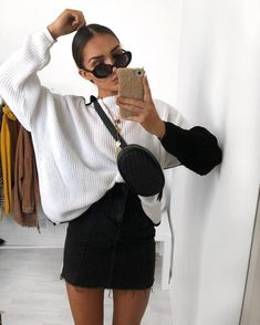 I've been wearing a tee that says 'Sunday' all day thinking cool af and I've just realised at that it's actually Monday and nobody told me ALL day. So here's an outfit where I'm not confused about what day it is 🌞 jumper, outfit links on story. Cute Comfy Outfits, Casual Fall Outfits, Mode Outfits, Fashion Outfits, Office Outfits, Fashion Styles, Sixth Form Outfits, Black Women Fashion, Womens Fashion