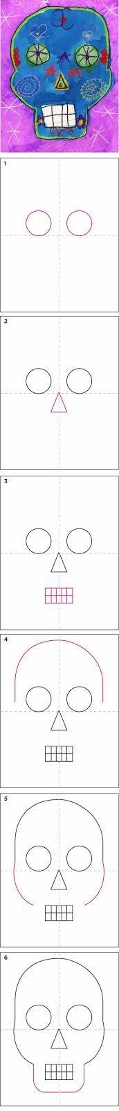 Art Projects for Kids: How to Draw a Skull Dia de los Muertos Art Halloween, Halloween Art Projects, Fall Art Projects, School Art Projects, 1st Grade Crafts, Hispanic Art, Art Handouts, 2nd Grade Art, Ecole Art