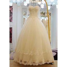 Custom Ivory White Beaded Long Sleeve Corset Wedding Bridal Ball Dress SKU-120028