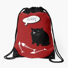 -  Made from 100% polyester woven fabric. -  Wide, soft draw cord that's easy on your      shoulders. -  Durable quality metal grommets. -  Long-lasting printed design on both front and back. . . #cat  #burpingcat  #catbag  #catcartoon  #blackcat  #catillustration   #bag  #drawstringbag  #shopproducts  #totebag  #shoulderbag  #funbag  #weekendbag  #bitsofeverywhere