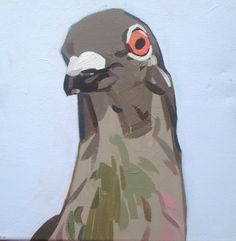 ARTFINDER: Pigeon on Blue by Matthew Stutely - A single portrait study of a pigeon painted in artist grade acrylics on quality stretched box canvas. I have signed this artwork in paint along the edge of t...
