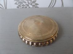 Powder Compact English Gold Metal Circa by BlackSquirrelHome