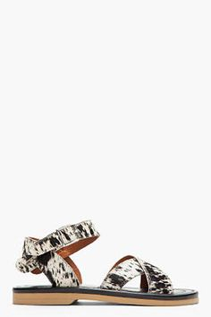 Marni Edition White Spotted Calf-hair Flat Sandals for women Flat Sandals, Flats, Hooker Heels, Black Spot, Marni, Ankle Strap, Wedding Rings, Engagement Rings, Clothes For Women