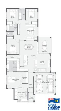 Choose your dream home design now with Dale Alcock. Narrow Lot House Plans, Dream House Plans, House Floor Plans, Modular Floor Plans, Home Design Floor Plans, Home Theater Room Design, Interior Design Living Room, Multipurpose Room, House Blueprints