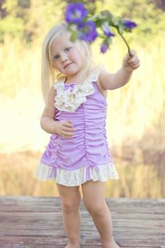Girls Vintage 1920's Orchid Ruche Swimsuit12 Months to 12 YearsNow in Stock