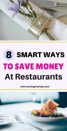 Eating in a restaurant generally costs more, but there are many ways to save money at restaurants. Here are 8 smart ways to dine out on a budget. | save money on groceries budget, save money on food tips, save money eating out.