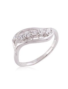 Cubic Zirconia And Rhinestone With Platinum Plated Ring