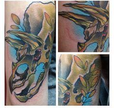 Dinosaur tattoo done by Tom Taylor of Deep Six Lab in Philadelphia. Follow him on Instagram @tattootomtaylor and Facebook tattootomtaylor.