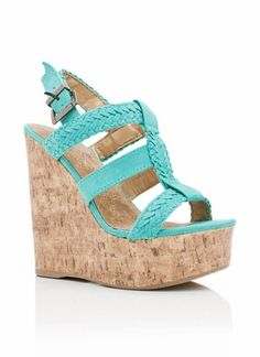 strappy woven wedge