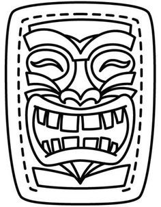 (Hawaiian) Tiki Mask Template Printable Sketch Coloring Page Luau Theme Party, Aloha Party, Tiki Party, Beach Party, Hawaiian Crafts, Hawaiian Theme, Hawaiian Luau, Hawaiian Parties, Totems