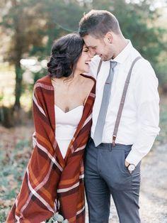 Bride and Groom Photos with Blanket Scarf | Bella Wedding Dress by Sarah Janks | Rustic Winter Wedding | Lynchburg, Virginia Film Photographer | kelseyandnate.com