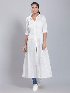 The Loom- An online Shop for Exclusive Handcrafted products comprising of Apparel, Sarees, Jewelry, Footwears & Home decor. Simple Kurti Designs, Stylish Dress Designs, Salwar Designs, Kurta Designs Women, Dress Neck Designs, Kurti Designs Party Wear, Blouse Designs, Cotton Dress Indian, Dress Indian Style