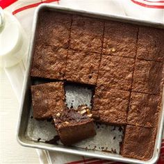 Chocolate Fudge Brownies Recipe -My children always looked forward to these after-school snacks. They're so fudgy they don't need icing. —Hazel Fritchie, Palenstine, Illinois
