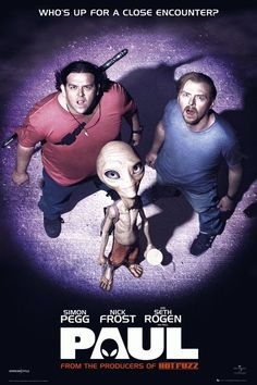"""""""Paul"""" 2011 British-American science fiction comedy film directed by Greg Mottola, written by Simon Pegg and Nick Frost, and starring Pegg. Also has Kristen Wiig who is so very funny Paul The Movie, Paul The Alien, Paul Film, Love Movie, Movie Tv, Buddy Movie, Funny Movies, Sci Fi Movies, Comedy Movies"""