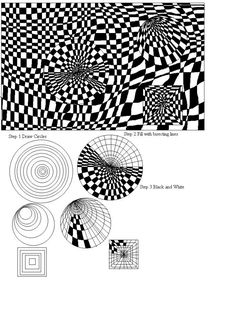 Art Worksheets | op art design computer art lesson using paint that comes with windows